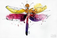 illustration by #dushky | #illustration #watercolor #tattoo #design #dragonfly…