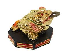 Fortune Coin Stunning Colorful Gold Money Toad Frog Chan Chu with Ba Gua Base Feng Shui Chinese Charm of Prosperity Decoration Gift US Seller Idea for Office Desk Computer BookTV Shelf and Cashier Registration Area Display * Check out the image by visiting the link.