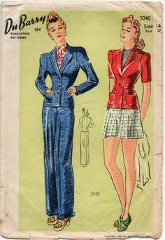 FAB Vintage Hepburn Style Pants Pattern Tailored Jacket Slacks or Shorts Vintage Inspired Fashion, 1940s Fashion, Vintage Fashion, Women's Fashion, Suit Pattern, Pants Pattern, 40s Outfits, Vintage Outfits, Vintage Pants