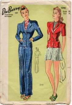 FAB Vintage 1940s Hepburn Style Pants Pattern Tailored Jacket & Slacks or Shorts | eBay $59.99  I admit I mostly like it because of the awesome illustrations. Have similar patterns already :)