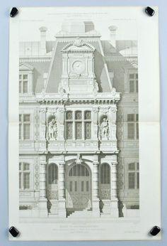 Parisian Town Hall Building Columns Windows Statues 1883 Architecture Print