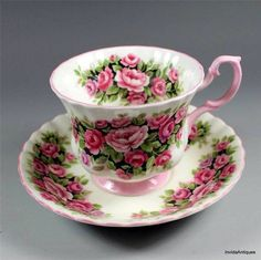 Rose Teacup with a pink handle.
