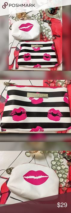 Double set lipstick 💄 pattern cosmetic bags Adorable in hot pink white and black one is for lipsticks and one is large enough for your foundation, powder, eye makeup and pencils Bags Cosmetic Bags & Cases