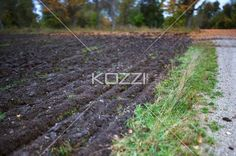view of ploughed field. - Close-up of ploughed field.