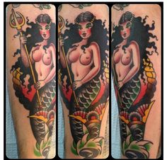 tattoo old school / traditional nautic ink - mermaid