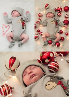 Baby's first Christmas- I like the idea of laying bulbs around baby. Could be used up to 3 months