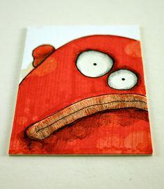 Orange monster Original ACEO drawing by Aaron by Aaronbutcher, $5.00