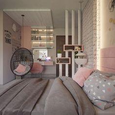 Bedroom Decor For Teen Girls, Room Ideas Bedroom, Small Room Bedroom, Home Decor Bedroom, Pink Teen Bedrooms, Teen Bedroom Layout, Teenage Bedrooms, Small Rooms, Grey Bedroom Design