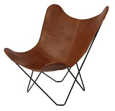 """Rakuten YO-KO: Butterfly Cuero キュエロ / BKF Chair BKF Chair / Brown Leather Brown leather / chair """"' - Purchase now to accumulate reedemable points! Harry Bertoia, Brown Leather Chairs, Cowhide Leather, Funky Furniture, Classic Furniture, Industrial Furniture, Industrial Design, Eames, Knoll Chairs"""