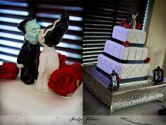 Rockabilly Wedding, Frankenstein and bride theme cake