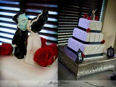 Rockabilly Wedding, Frankenstein and bride theme cake