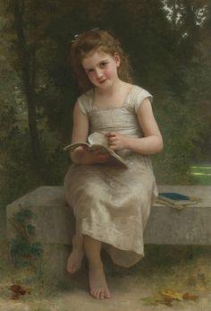 """""""A Leitura"""" - Pintura a óleo de William Adolphe Bouguereau"""