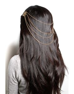 Gold hair chain against dark hair I like it