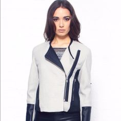 Nwt Helmut Lang Grey Jacket With Leather Trim