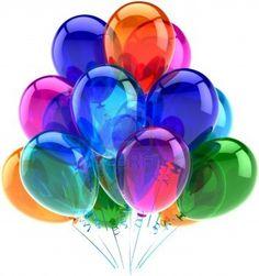 Ballonnen party happy birthday decoratie kleurrijke doorschijnende Joy plezier positieve emotie abstract Holiday verjaardag pensioen viering concept.