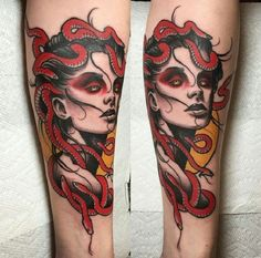 Evil Headed Medusa tattoo. As Medusa was known to hateful and controlling, so this tattoo on the inner arm represents this image of Medusa very well. This is definitely what Greeks think of  Medusa.