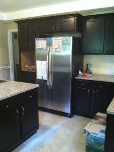 Stain Cabinets Grey Stain And Engineered Hardwood On