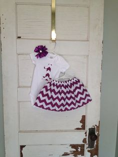 Purple chevron 1st Birthday outfit for baby girl on Etsy, $29.99