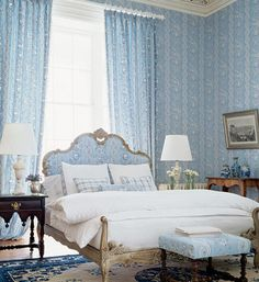Lovely Budoir...very french. i love matching wallpapers with fabrics