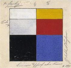 the elementaire colours of de stijl by Van Doesburg    Left: passive colors.    Right: active colors.