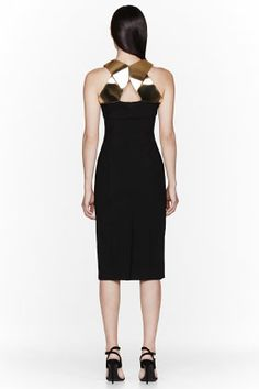 BURBERRY PRORSUM Black & Gold plated Geometric Panel Dress  LBD Dream Dress