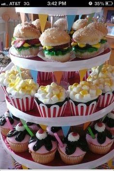 Hamburger, popcorn and milkshake cupcakes