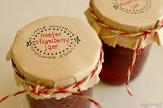 Strawberry Jam packaging - kraft paper topper, stamped label, twine wrapping - personallyandrea.com