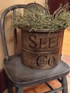 An Old Minnow Bucket...painted and stuffed with a plant.  By Allison White Kane.