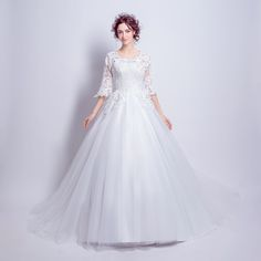Angel Wedding Dress Marriage Bride Bridal Gown Vestido De Noiva 2017 Boat Neck horn sleeve, big tail 6910