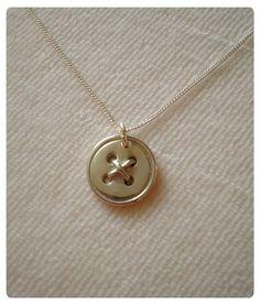 Handmade fine silver clay button pendant