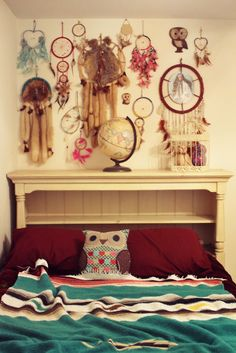 Dream catcher art! Uhh. My room. Please. Love that blanket also! :)