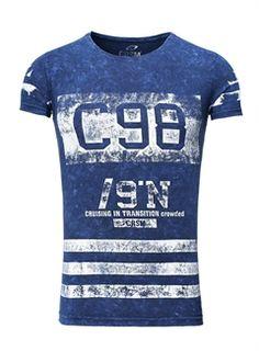Carisma Herren T-Shirt Football Rundhals blau P28502
