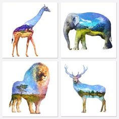 """Animals Forest Canvas Wall Art Prints Deer Lion Giraffe Elephant Painting Canvas Picture Prints Home Decor Ready to Hang (12""""x12""""x4pcs) #homestyle #natureza #animals #abstractpainting"""