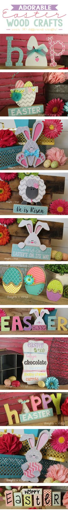 Adorable Wooden Easter Crafts, Cute Bunnies, Wooden Easter Letters.