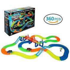 360 Stück Magic Tracks Glow Race Track Neon flexible Rennbahn Spur Insgesamt mit 2 LED Autos perfekt für Mädchen und Jungen
