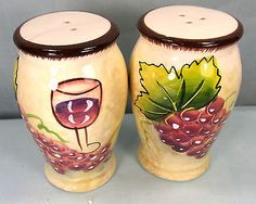 Wine and grapes pattern ceramic salt and pepper shakers kitchen ware in Home & Garden, Kitchen, Dining & Bar, Dinnerware & Serving Dishes | eBay