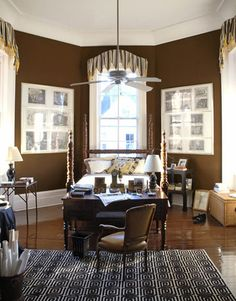 """The custom color in the master bedroom """"was probably influenced by my first childhood bedroom,"""" says Marshall, """"which had milk chocolate walls.""""   - HouseBeautiful.com"""