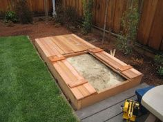 Sandbox Design Ideas free sandbox plans great southern wood preserving yellawood sand box build it Love The Lid That Doubles As Seats On This Sandbox