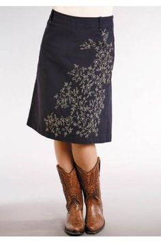 Stetson Brushed Canvas Skirt - Love the white embroidery on the navy blue skirt!  I'm a little partial to the skirts-with-cowboy-boots look as well!