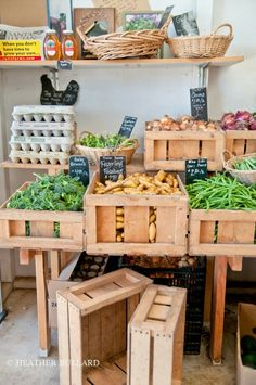Vegetable crates with chalkboard tags