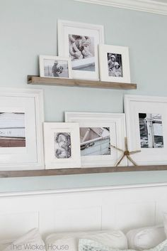 Learn how to make these simple and functional DIY picture ledges to display your favorite photographs City Farmhouse wall decor, wall art Picture Shelves, Wall Shelves, Wall Ledge Shelf, Ikea Picture Ledge, Display Shelves, Picture Ledge Bedroom, Pottery Barn Shelves, Mosslanda Picture Ledge, Shelves Over Couch