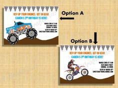 Monster Truck or Dirt Bike Party Invite - Printable Custom Birthday Invitation - Digital File