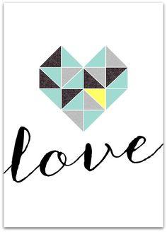 Free Valentines Day Printable / Design / Love / Geometric Heart / Black