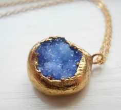 Gold dipped druzy necklace