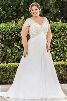 A-Line/Princess V-neck Court Train Chiffon Wedding Dresses