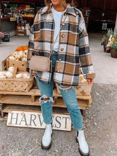Long Sleeve Button Down Plaid Autumn Shirt - Khaki / S
