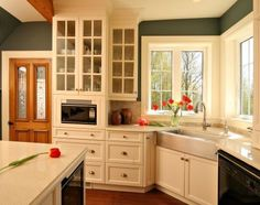 Sink in corner with short section of cabinets to the left. 1800's Redux - traditional - kitchen - other metros - by Sheridan Interiors