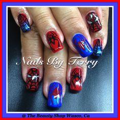 Spiderman gel nails