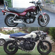 Before after: 1983 Nighthawk cafe racer Virago Cafe Racer, Cafe Racer Honda, Cafe Bike, Cafe Racer Motorcycle, Brat Bike, Moto Bike, Motorcycle Art, Custom Cafe Racer, Cafe Racer Build