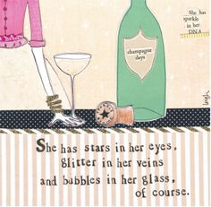 Bubbles In Her Glass . I love curly girl designs